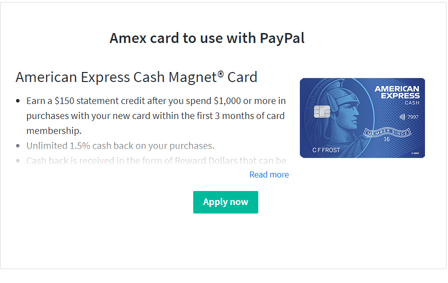 Amex Card and Paypal
