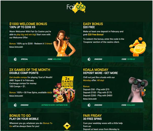 Fair Go Casino- Bonuses