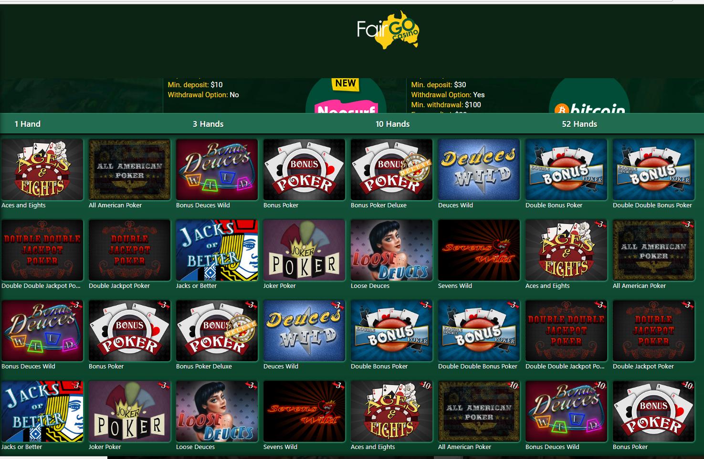 Fair go- video poker games