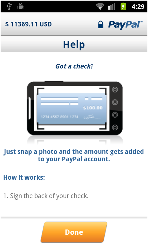 How to take a picture of a check using the Cash a Check service in the PayPal app