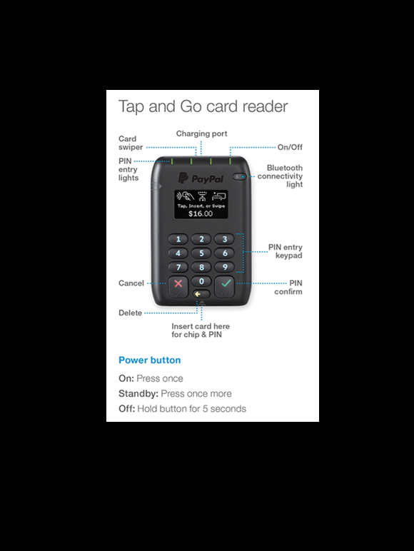 Tap and go card reader- PayPal here