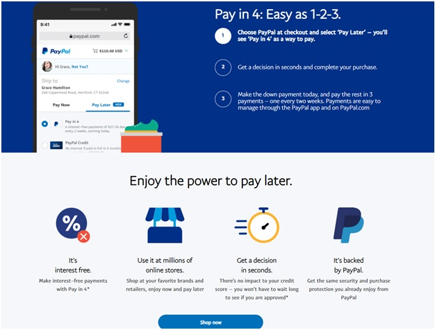 Pay in 4 feature of BNPL of Paypal
