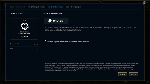 Purchase Riot points with Paypal