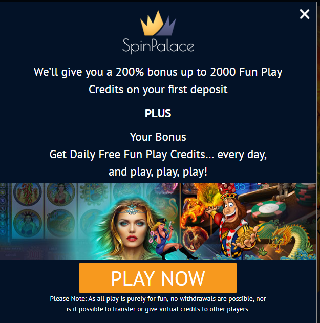 Spin Palace free pokies for fun
