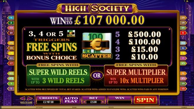 high society payout pokies