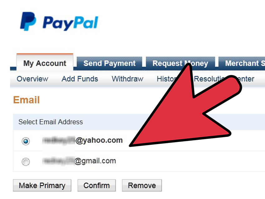 how to add email to paypal