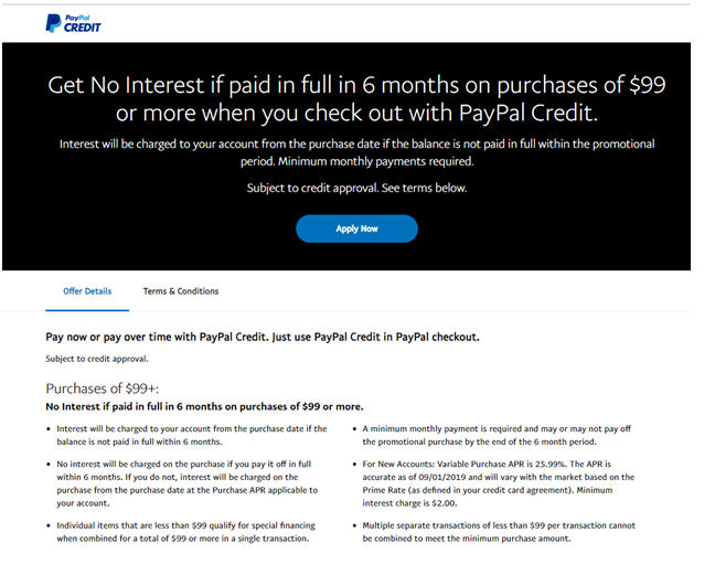 paypal credit purchases